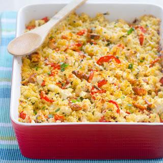 Cauliflower, Tomato and Chicken Sausage Quinoa Gratin