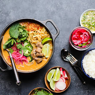 Lamb Coconut Curry with Pickled Red Onions.