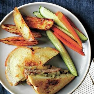 Turkey-Scallion Patty Melts With Oven Fries.