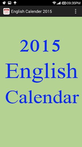 English Calendar 2015