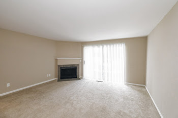 LeHarve living room with fireplace and carpet