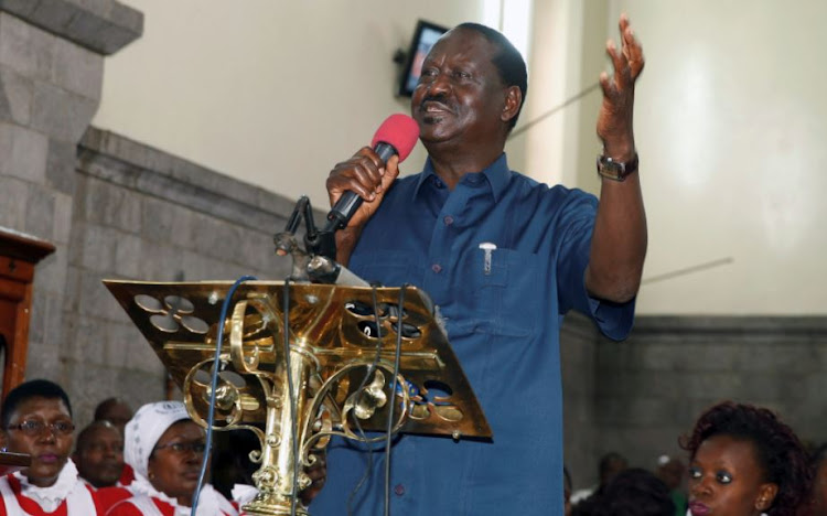 Kenyan opposition leader Raila Odinga, of the National Super Alliance (NASA) coalition, speaks during a church service inside the St. Stephen's cathedral in Nairobi, Kenya September 3, 2017.