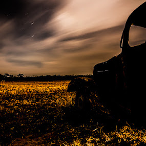 Parked by Night by Kelly Hulme - Landscapes Prairies, Meadows & Fields ( truck, stars, long exposure, night, landscape,  )