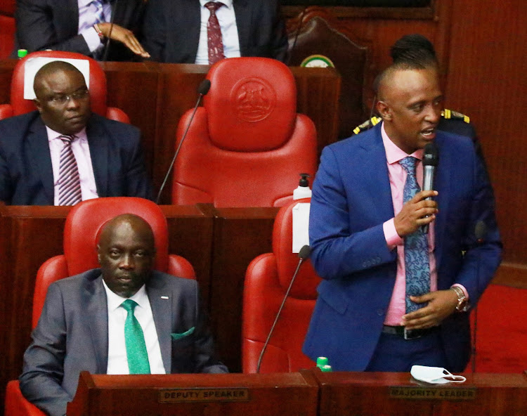 Nairobi County Assembly Majority leader Abdi Hassan Guyo speaking during plenary sitting on February 18, 2021