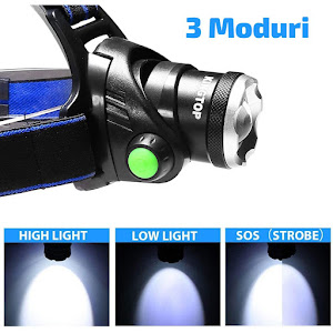 Lanterna frontala cu LED, curea elastica si reglabila, cu zoom