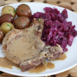 Pork Chops With Cream Sauce and Braised Red Cabbage.