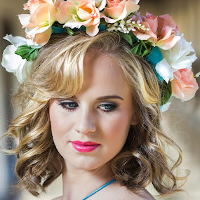 Just for a second. by Gerrie van der Walt - People Fashion ( love, glamour, model, fashion, floral crown, flowers, flower crown, design, landscpae,  )
