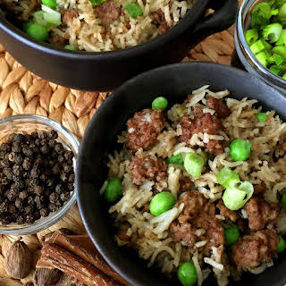 Pressure Cooker Kheema Pulao Indian Ground Beef and Rice.