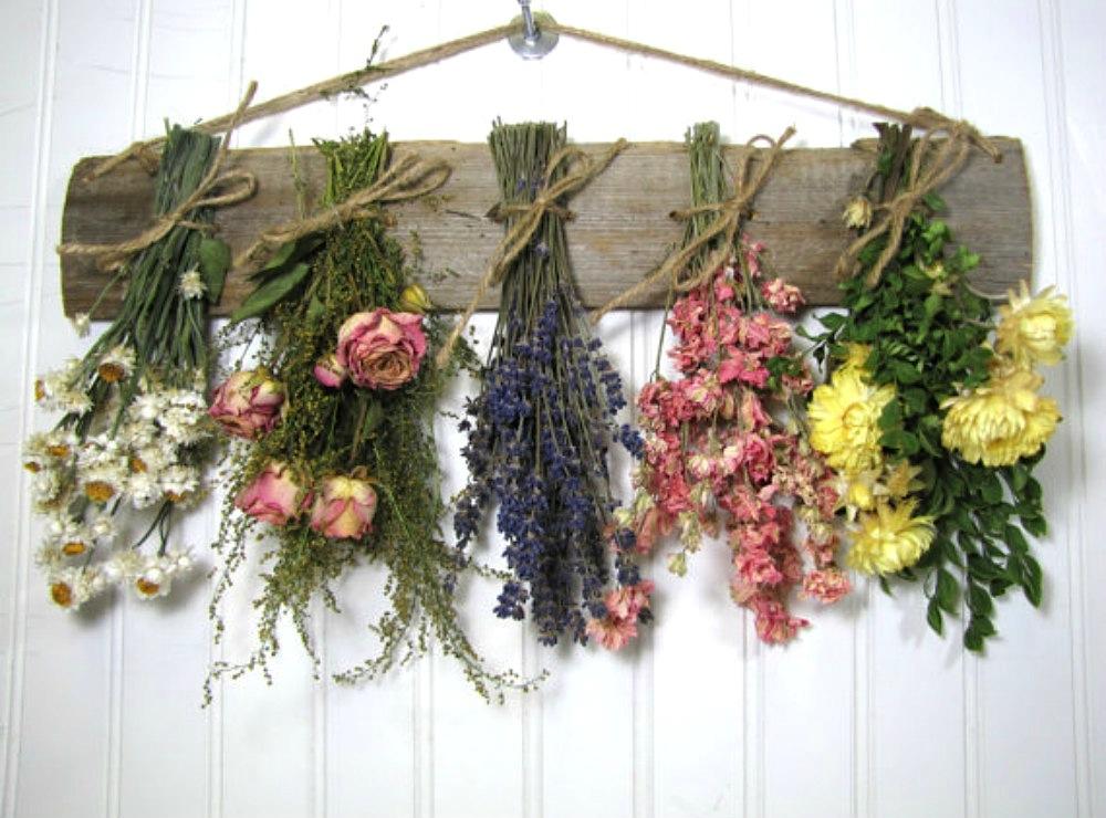 Как засушить букет живых цветов в дома