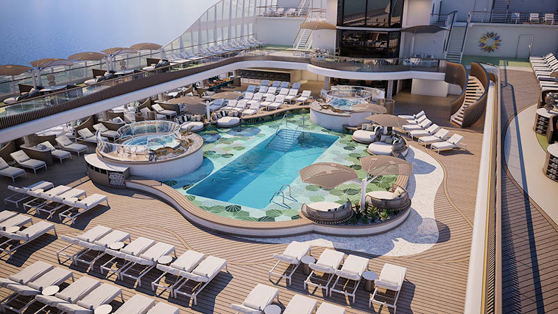 Vista, due to debut in March 2023, features a pool deck with lounges and cabanas for sunbathing (digital rendering).