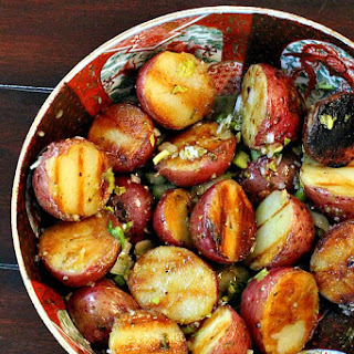 Grilled Potatoes with Basil Mustard Vinaigrette Recipe