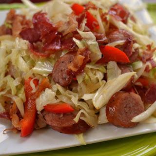 Cabbage Bacon Sausage Stir Fry.
