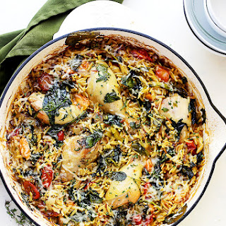 One Pot Chicken and Orzo with Spinach and Tomatoes.