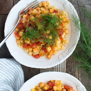 Pasta with Chickpeas, Fennel and Saffron.