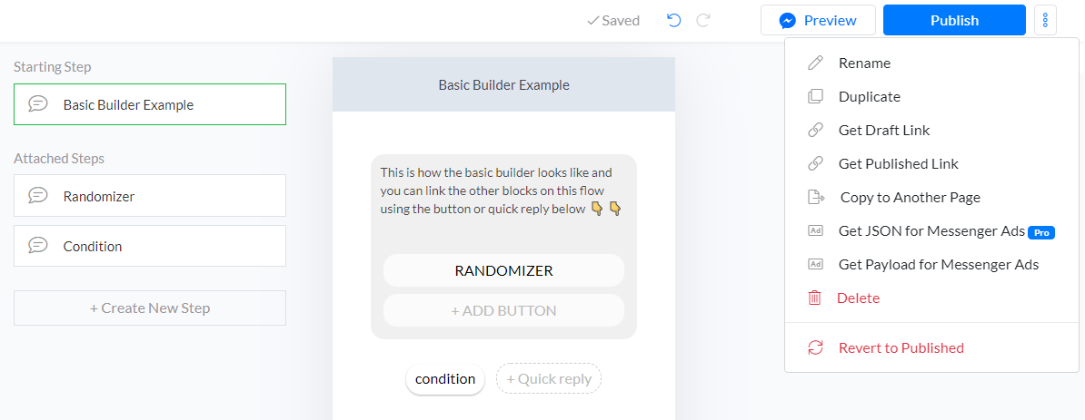 additional features on basic flow builder