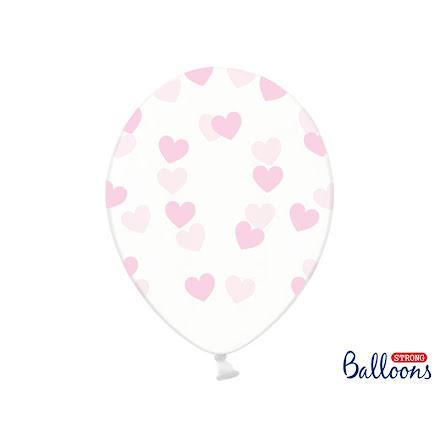 Ballonger - Crystal clear med ljusrosa hjärtan.