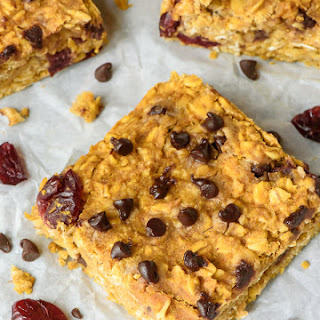 Pumpkin Peanut Butter Oatmeal Bars with Chocolate Chips and Cranberries