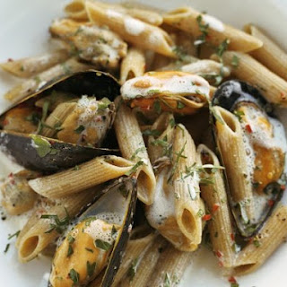 Mussels with Penne Pasta.