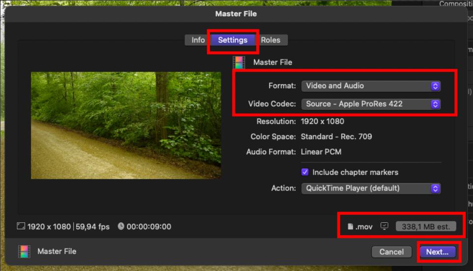 screenshot of final cut pro export window