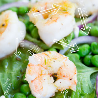 Fresh Green & Shrimp Salad with Lemon Dill Dressing.
