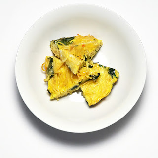 Spaghetti Frittata with Vidalia Onion, Spinach and Smoked Gouda