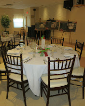 Photo: Decorated, empty tables waiting for the guests to arrive.
