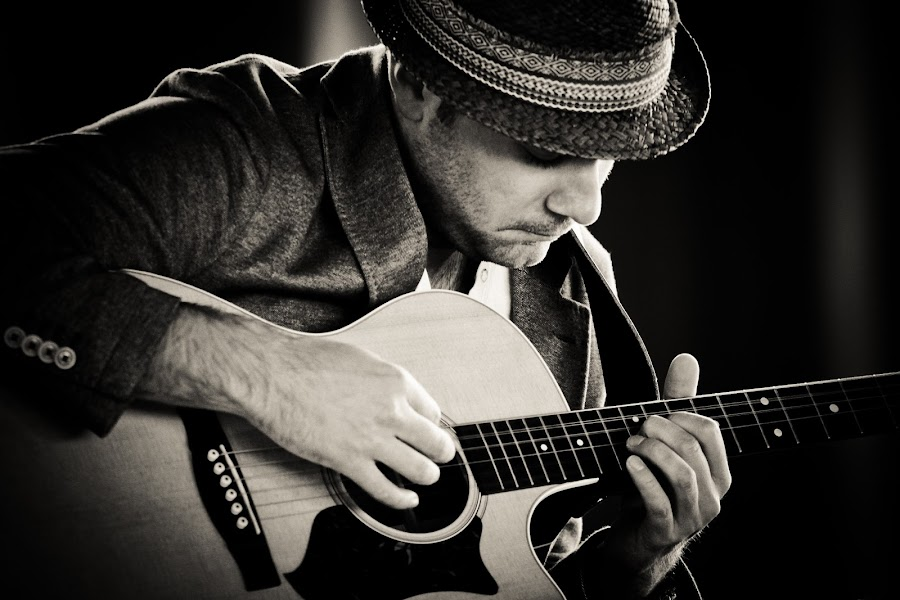 Soulful David Curtis  by Toni Geib - Black & White Portraits & People ( music, rock n roll, black and white, musician, guitar, acoustic guitar )