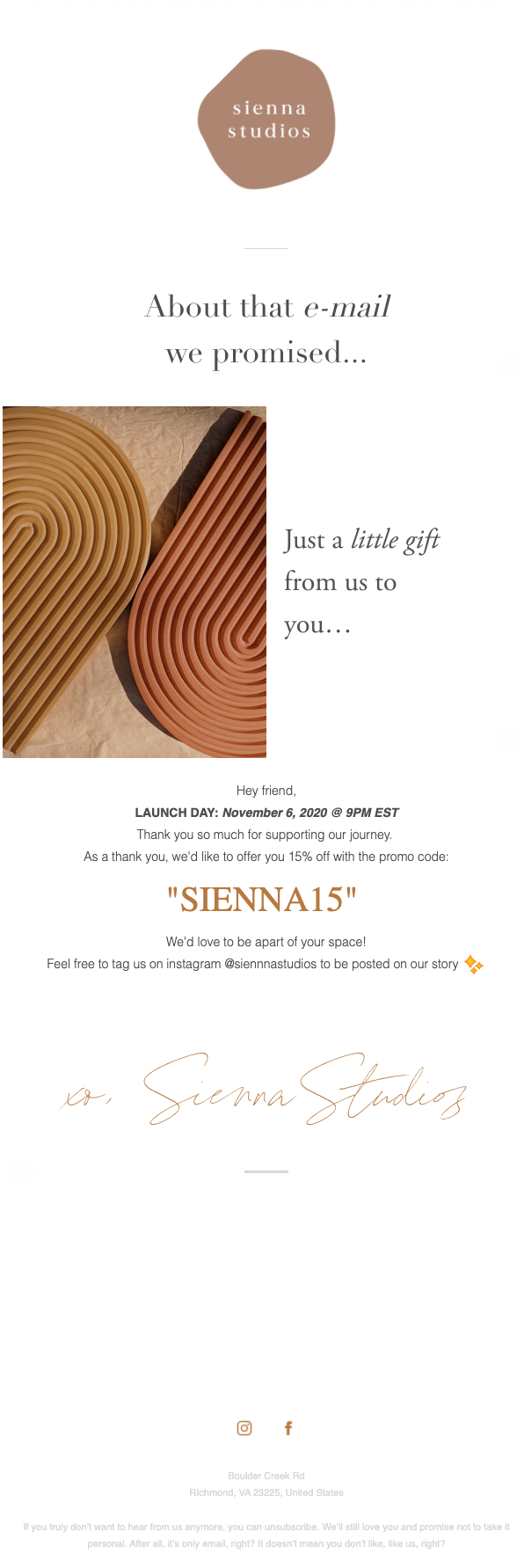 Sienna Studios welcome email.