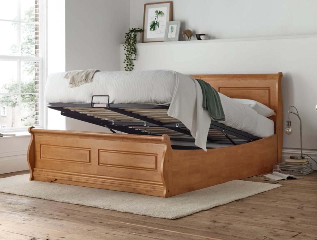 marseille new oak wooden ottoman bed