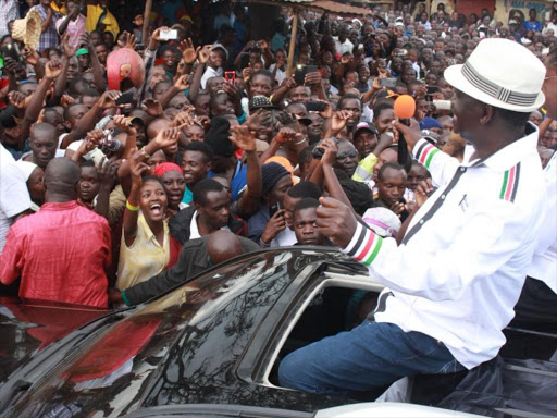 ODM leader Raila Odinga during a campaign in Keroka town in Nyamira county in 2017