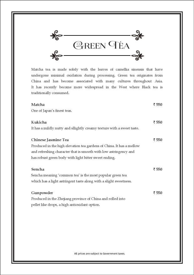 Sea Lounge - The Taj Mahal Palace menu 19