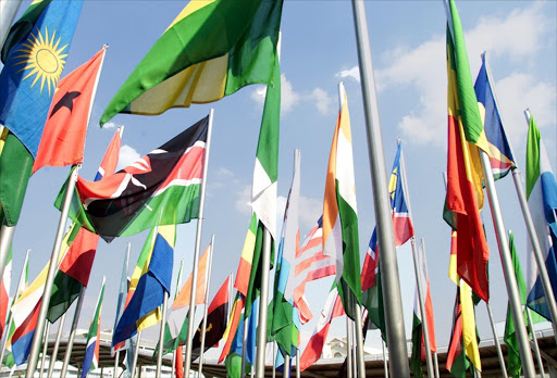 FILE PICTURE: The launch of the African Union in Durban: A veritable forest of National flags reflect the member nations of the AU. Pic: Richard Shorey. 10/7/02. © Sunday Times.