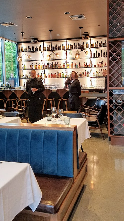Can Font Portland, a restaurant in the Pearl District of Portland offering Catalan Cuisine- looking at the bar from main dining room area