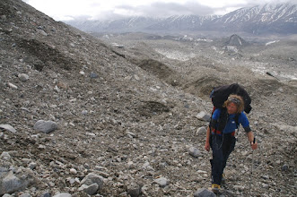 Photo: Tomek on Walsh Glacier. He lost one ski pole jumping over cold stream.
