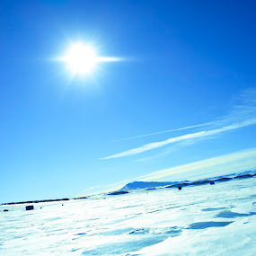 Snowy sun by Anh Nguyen - Landscapes Mountains & Hills ( ice, snow, lake, fishing, frozen, sun )