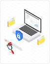 Thumbnail illustration of open laptop with locked padlock, a magnifying glass in front, and file folders on each side