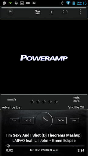 Poweramp Skin Black Glass