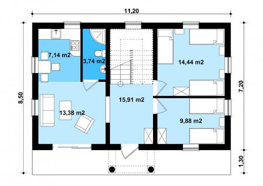 G344 - Budynek rekreacji indywidualnej - Rzut parteru
