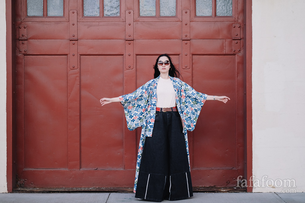 Modern Styling: Japanese Kimono with t-shirt and wide denim - Style Notes | fafafoom.com