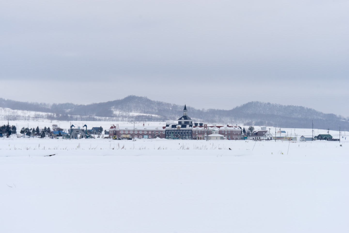 どんよりとした雪雲の風景