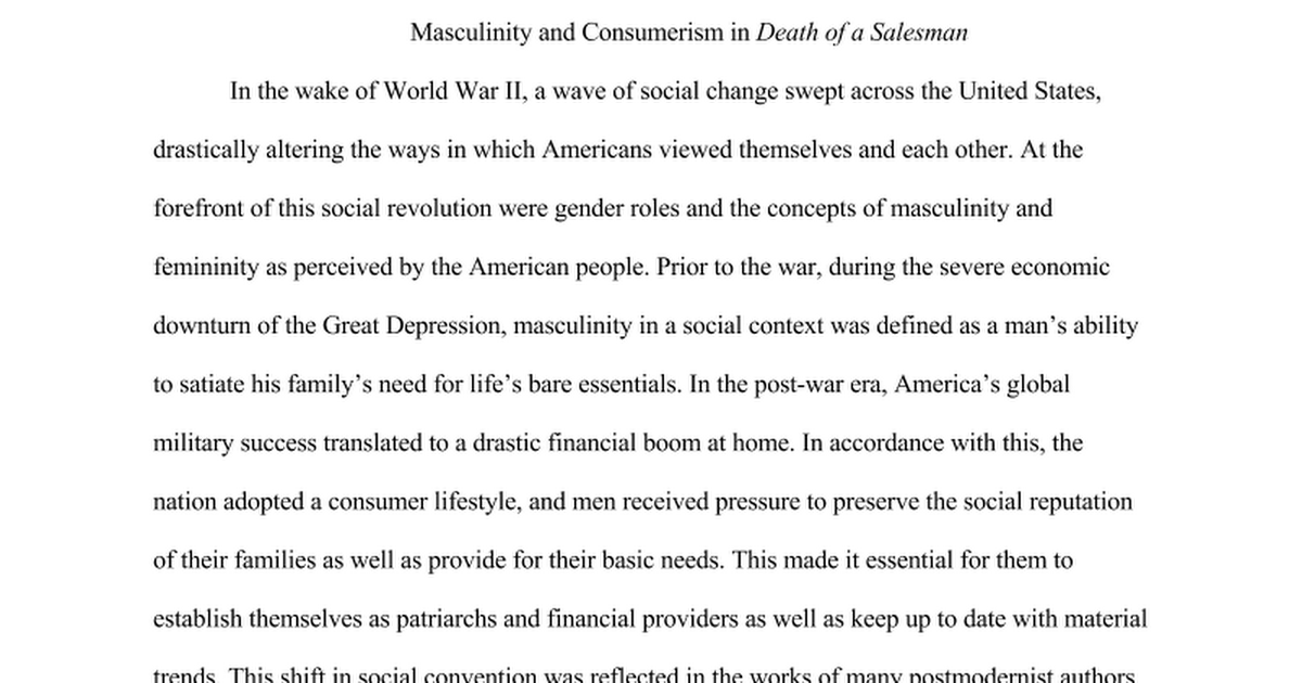 masculinity in death of a sman es and prince google docs