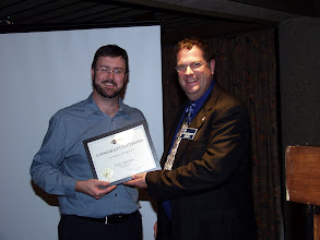 Photo: Glenn MacLean received a special award for his fundraising efforts during the 2007-2008 season.  Robert Lefebvre also received an award (in absence) for his efforts during the 2008-2009 season.