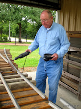 Photo: 0929  Bill Howe builds switches for two center tracks at the engine barn.    HALS Public Run Day 2013-0921 RPW