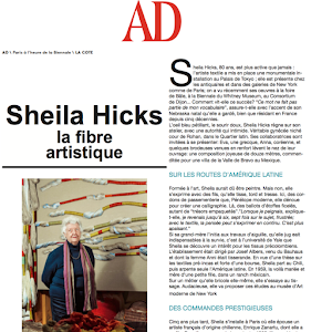 Sheila Hicks, AD magazine, 2014, la fibre artistique