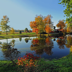 Autumn Reflections by Andrea Everhard - Landscapes Waterscapes ( autumn, reflections, lake, new jersey )