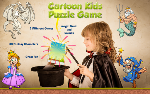 Kids Playing Cartoon Puzzle