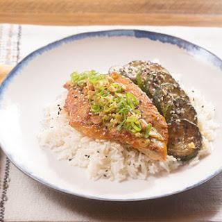 Spicy Ponzu-Glazed Catfish with Garlic Rice, Sesame Zucchini & Ginger Peanuts
