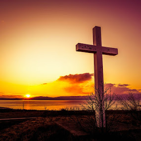 Religious point of view by Goran Grudić - Landscapes Sunsets & Sunrises ( religion, sunset, croatia, kvarner, religious, cross )