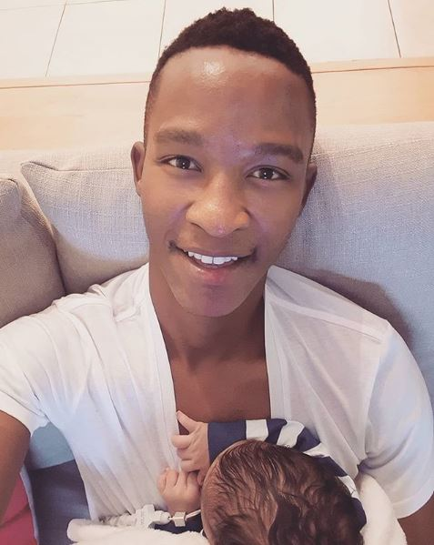 Katlego Maboe and his son.