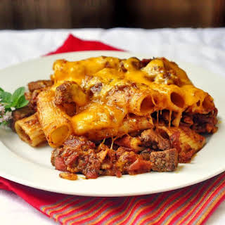 Steak and Bacon Pasta Bake.